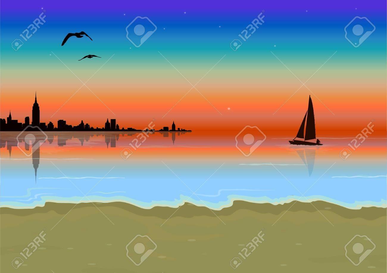sunset scene Stock Vector - 20038019