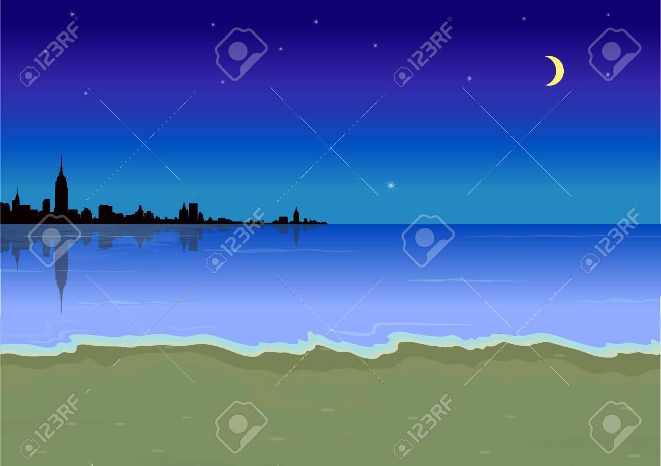 beach at night Stock Vector - 20298487