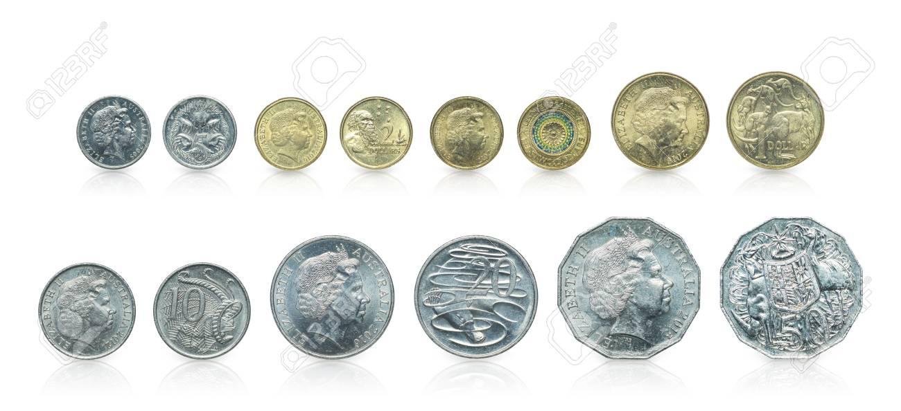 Abschluss Oben Set Australische Dollarmünzen Islated Auf Weißem