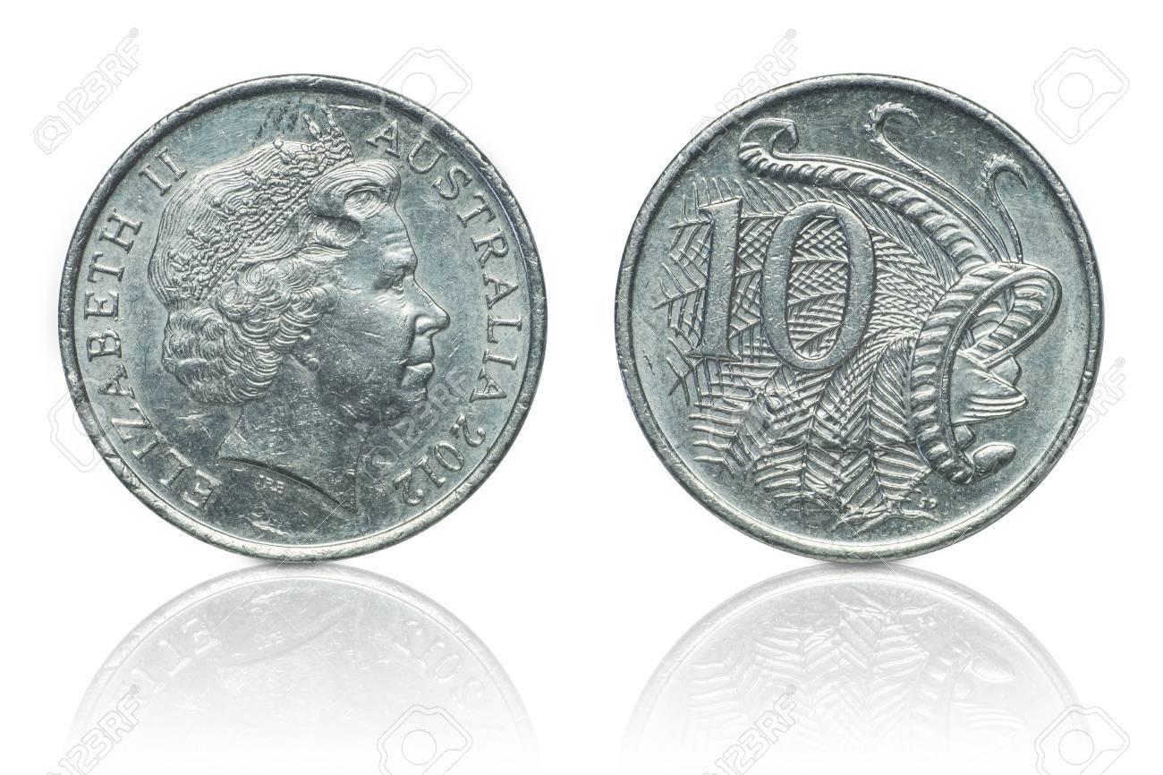 Abschluss Oben Australische Dollarmünzen Islated Auf Weißem