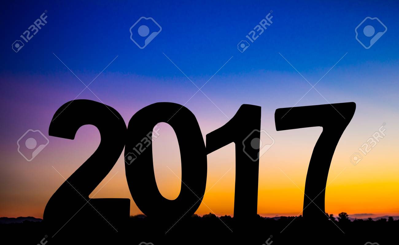 Symbols Happy New Year 2017 Holiday Concept Silhouette Light Stock