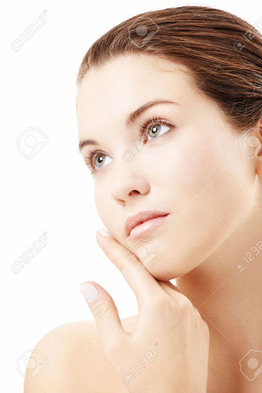 Portrait of girl with the pure skin, isolated on a white background Stock Photo - 6031025