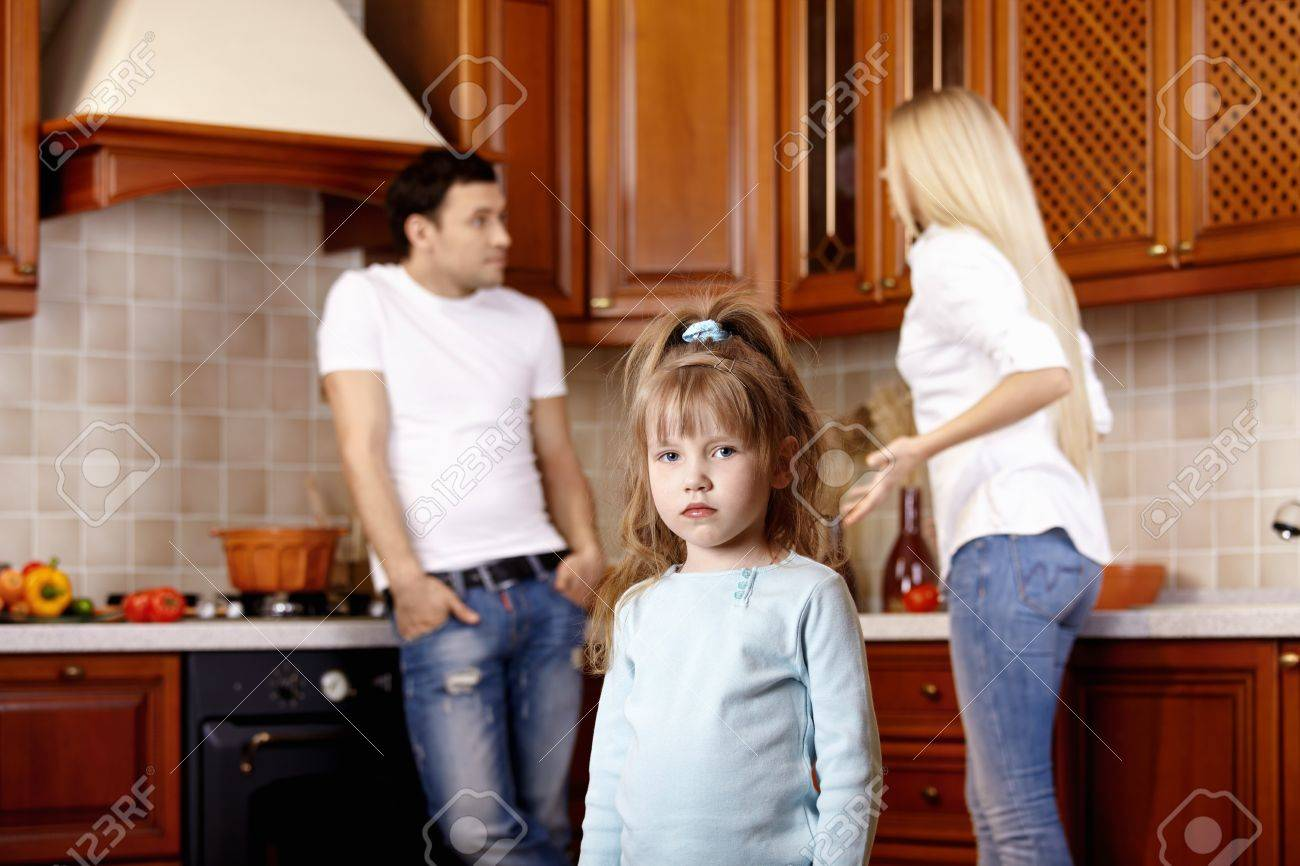 The little girl against quarrel of parents Stock Photo - 7861528