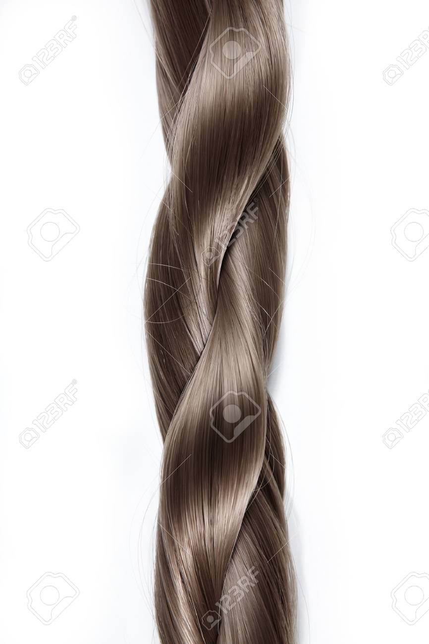 Thick plait from hair on a white background - 7861542