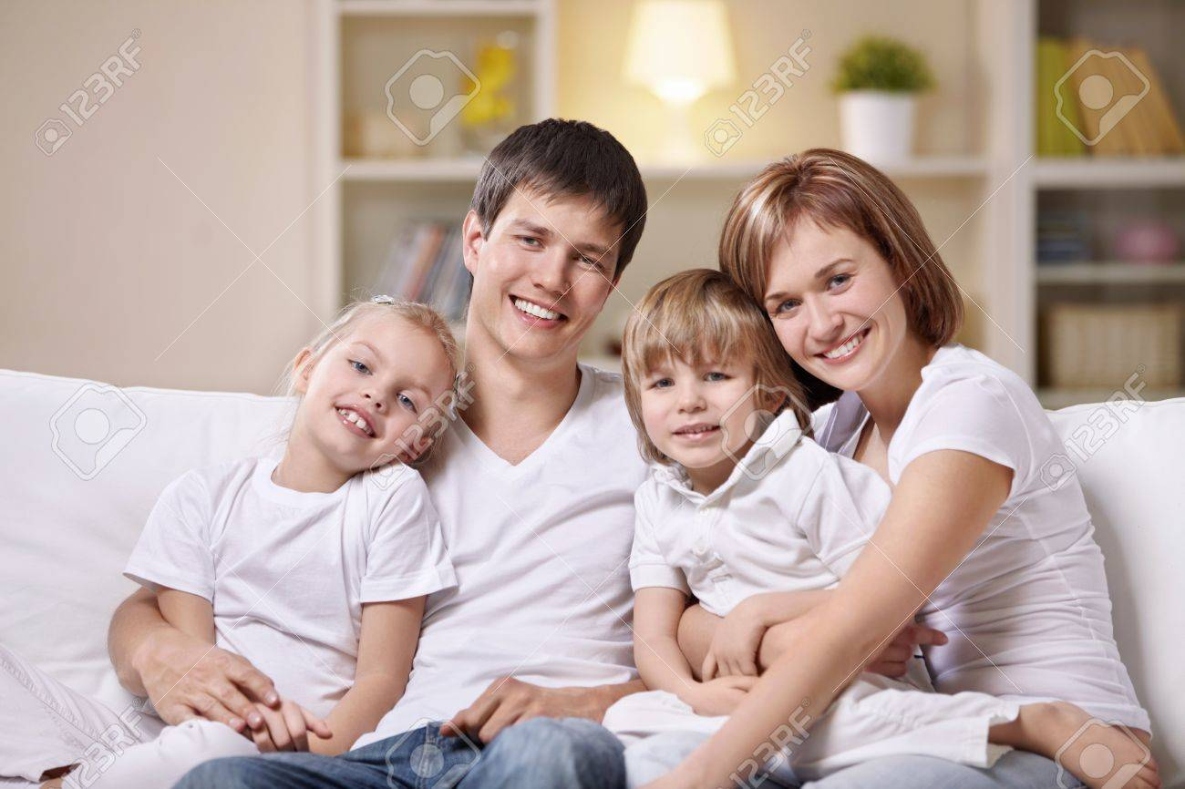 A happy family with children at home in the evening Stock Photo - 8962019