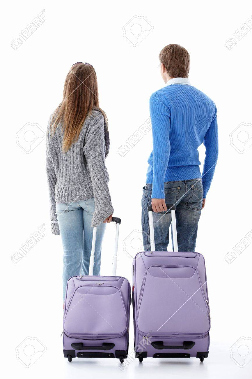 Leaving a couple of suitcases on a white background Stock Photo - 9603079
