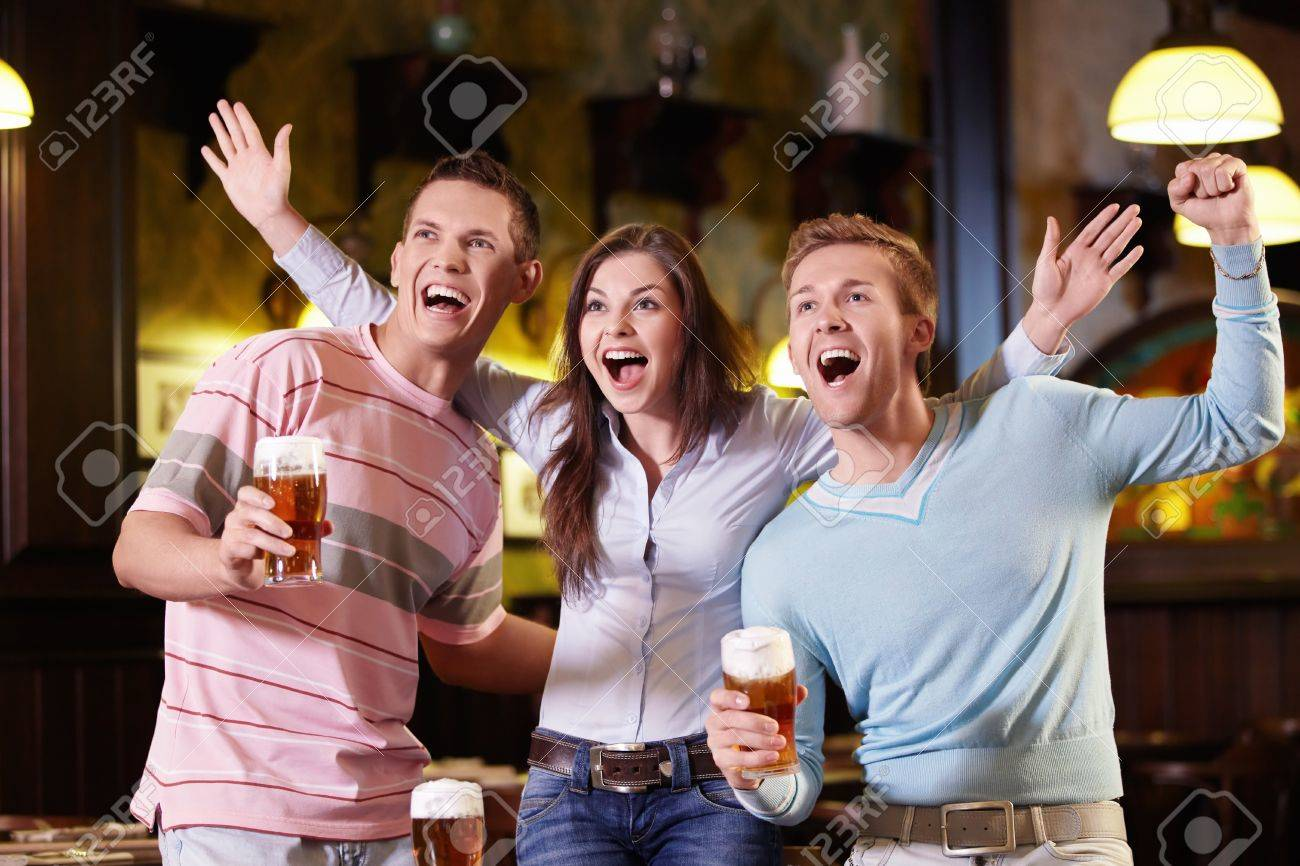Young people are expressing in the pub Stock Photo - 10259495
