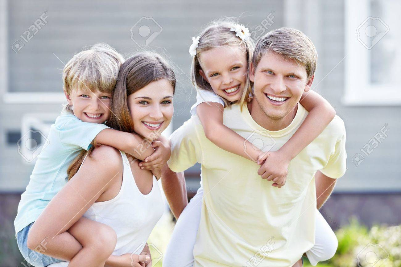 Smiling family with children outdoors Stock Photo - 10777551