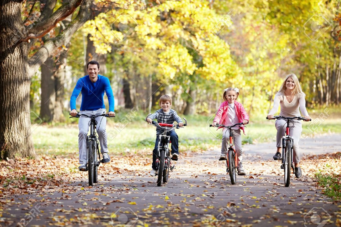 Family On Bikes In The Park Stock Photo, Picture And Royalty Free Image.  Image 12019120.