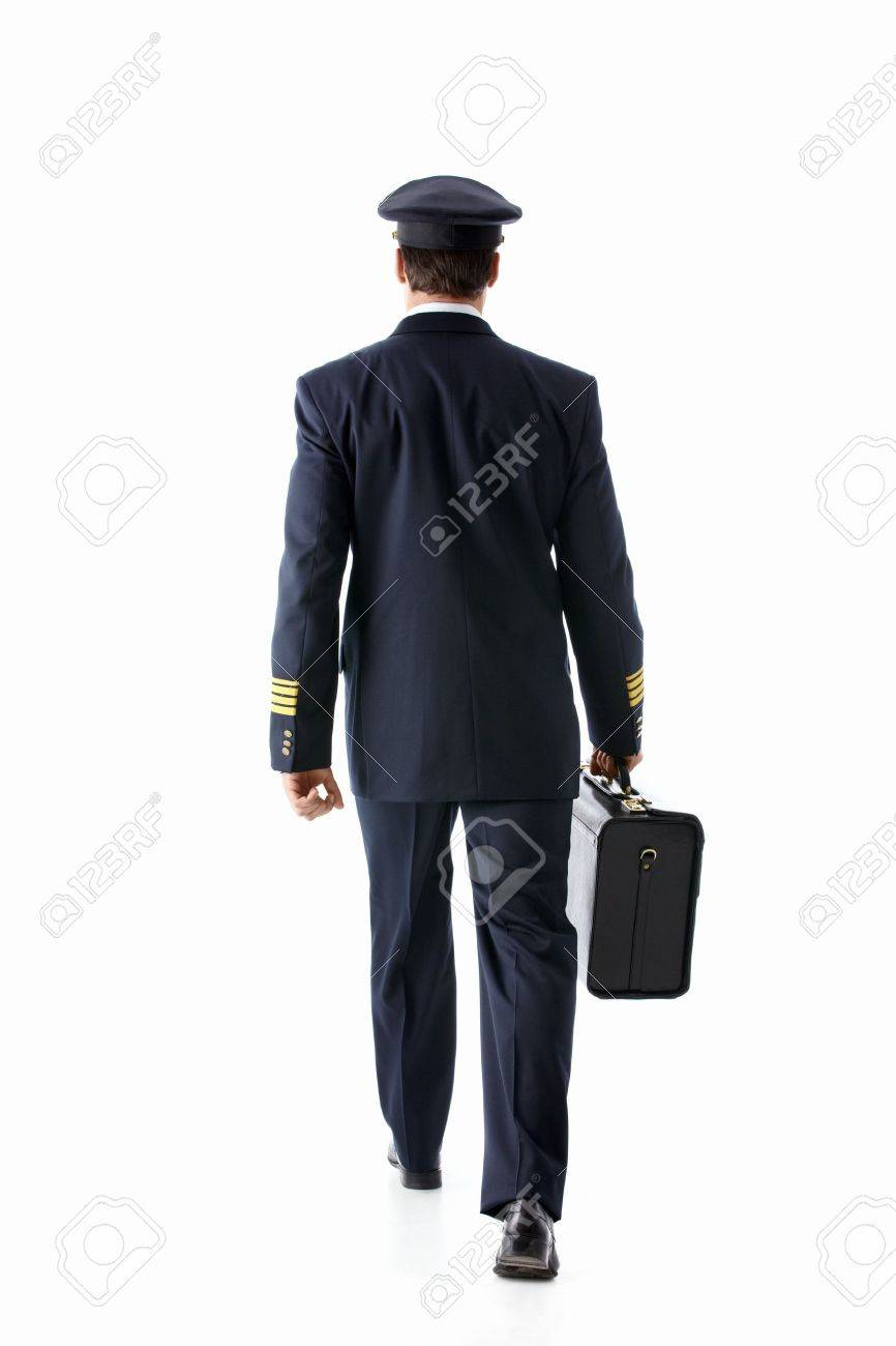 Going the pilot with a suitcase on a white background Stock Photo - 12928692
