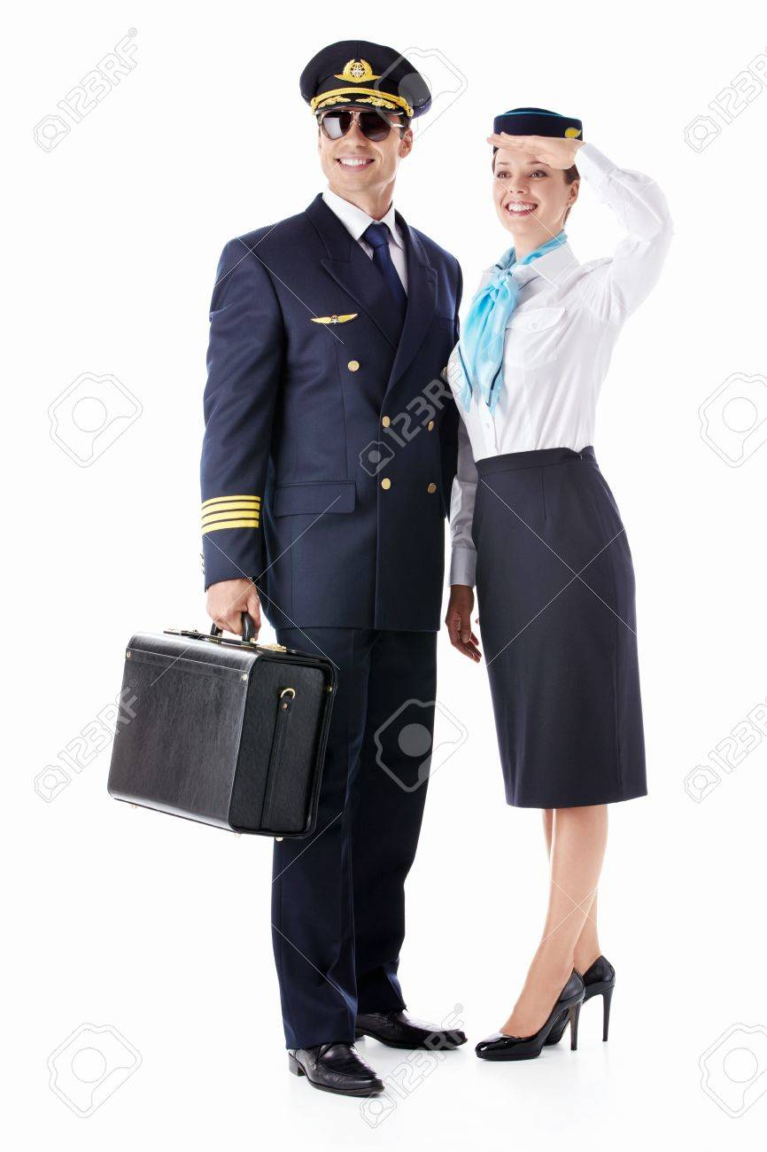 The pilot and stewardess on a white background Stock Photo - 12928714