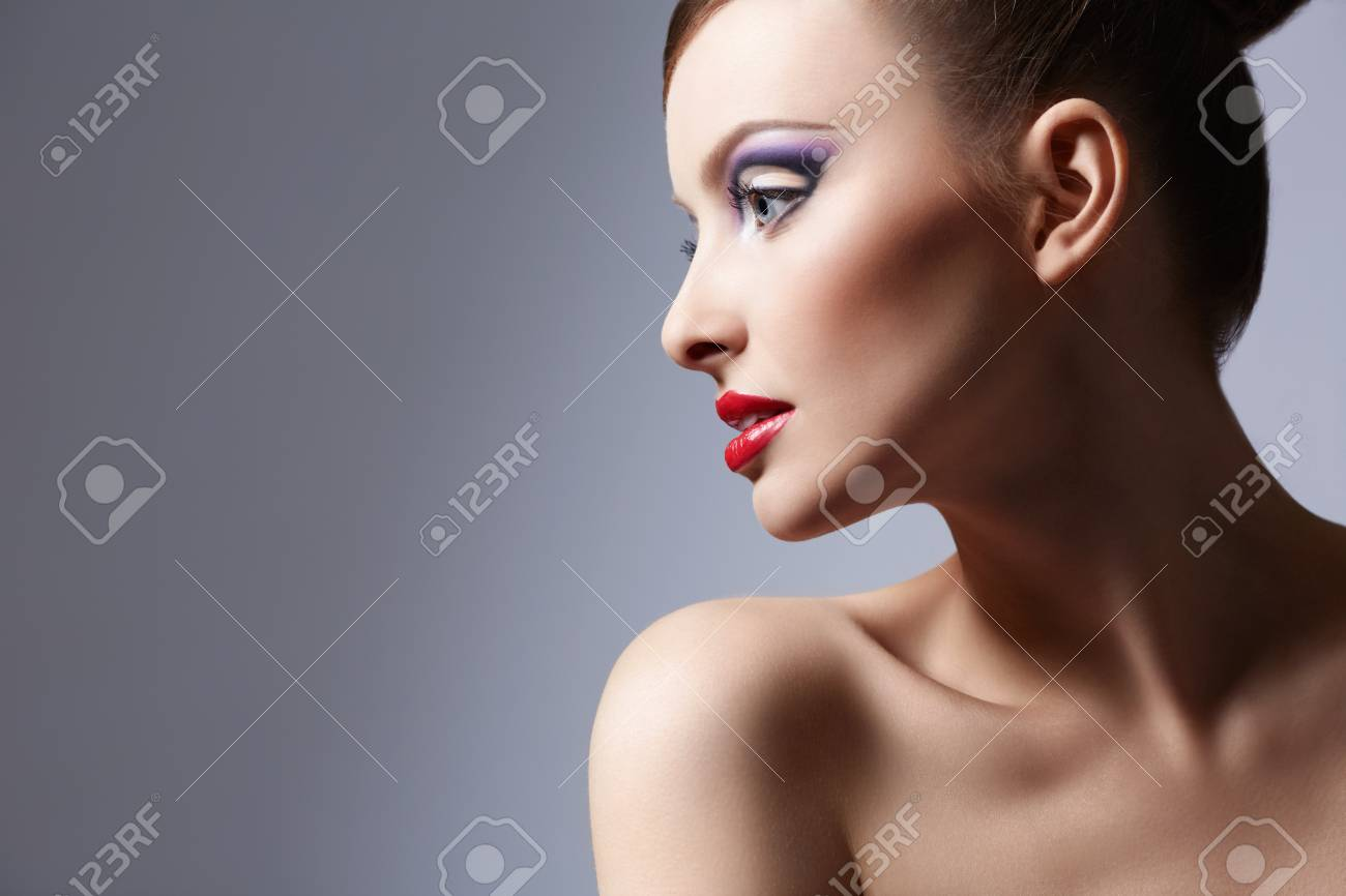 Beautiful girl with a hairstyle and make-up Stock Photo - 17387025