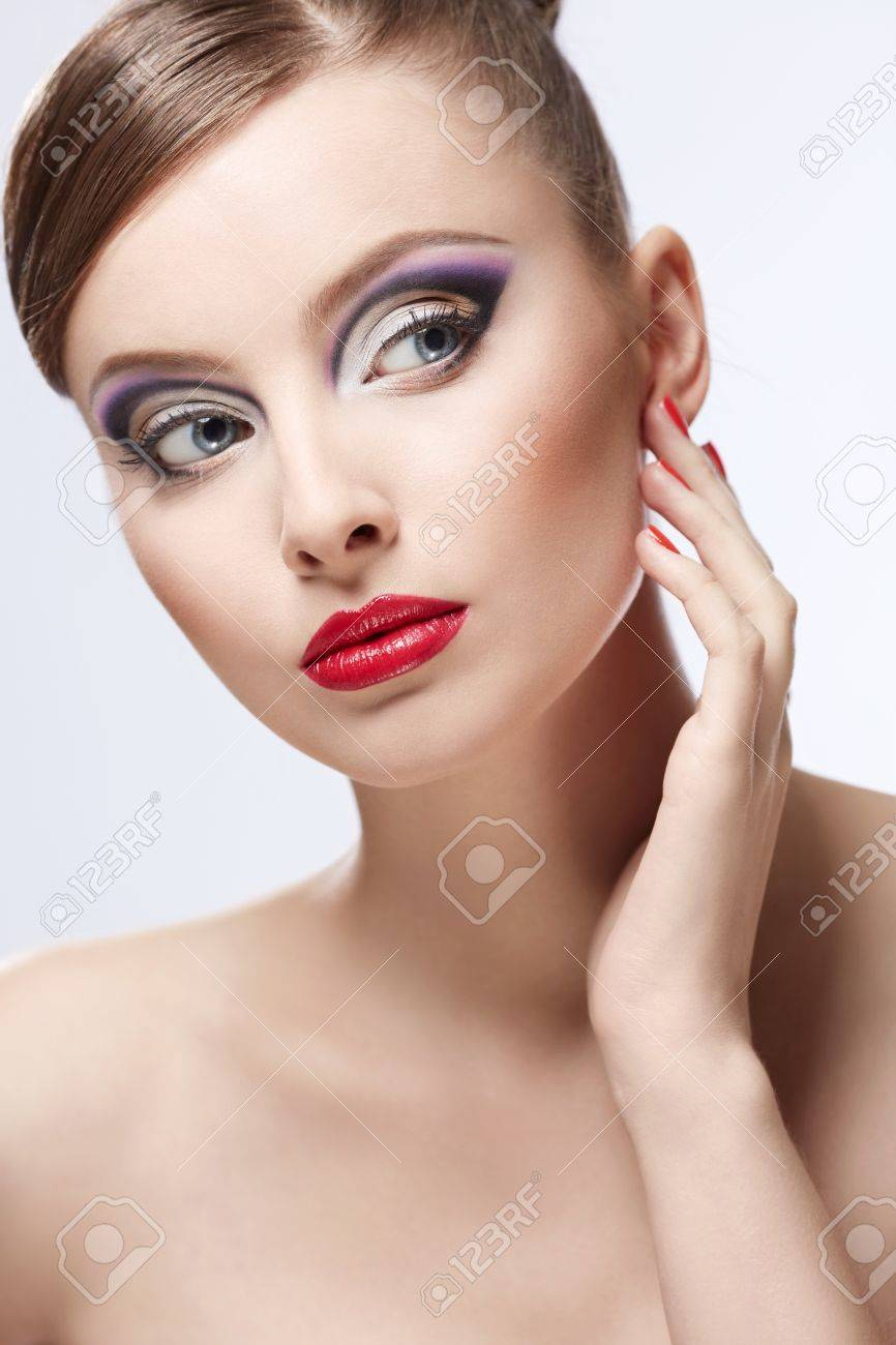 Young girl with makeup on white background Stock Photo - 17447688