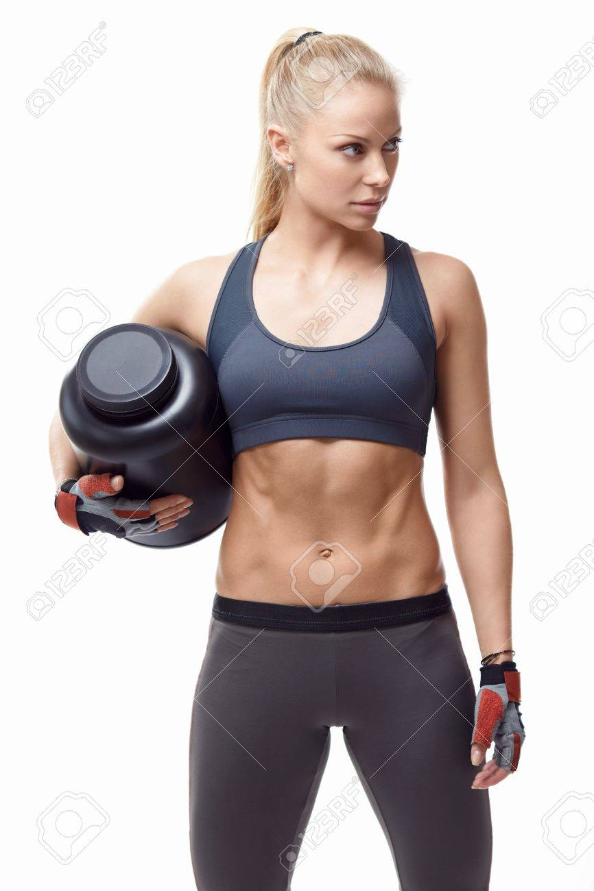 Athletic girl with a jar on a white background Stock Photo - 20336511