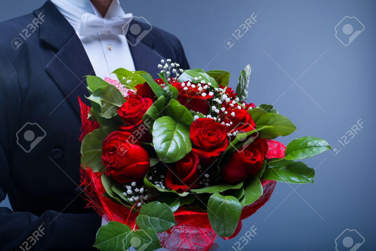 Man with bouquet of flowers stock photo picture and royalty free man with bouquet of flowers stock photo 31204067 izmirmasajfo