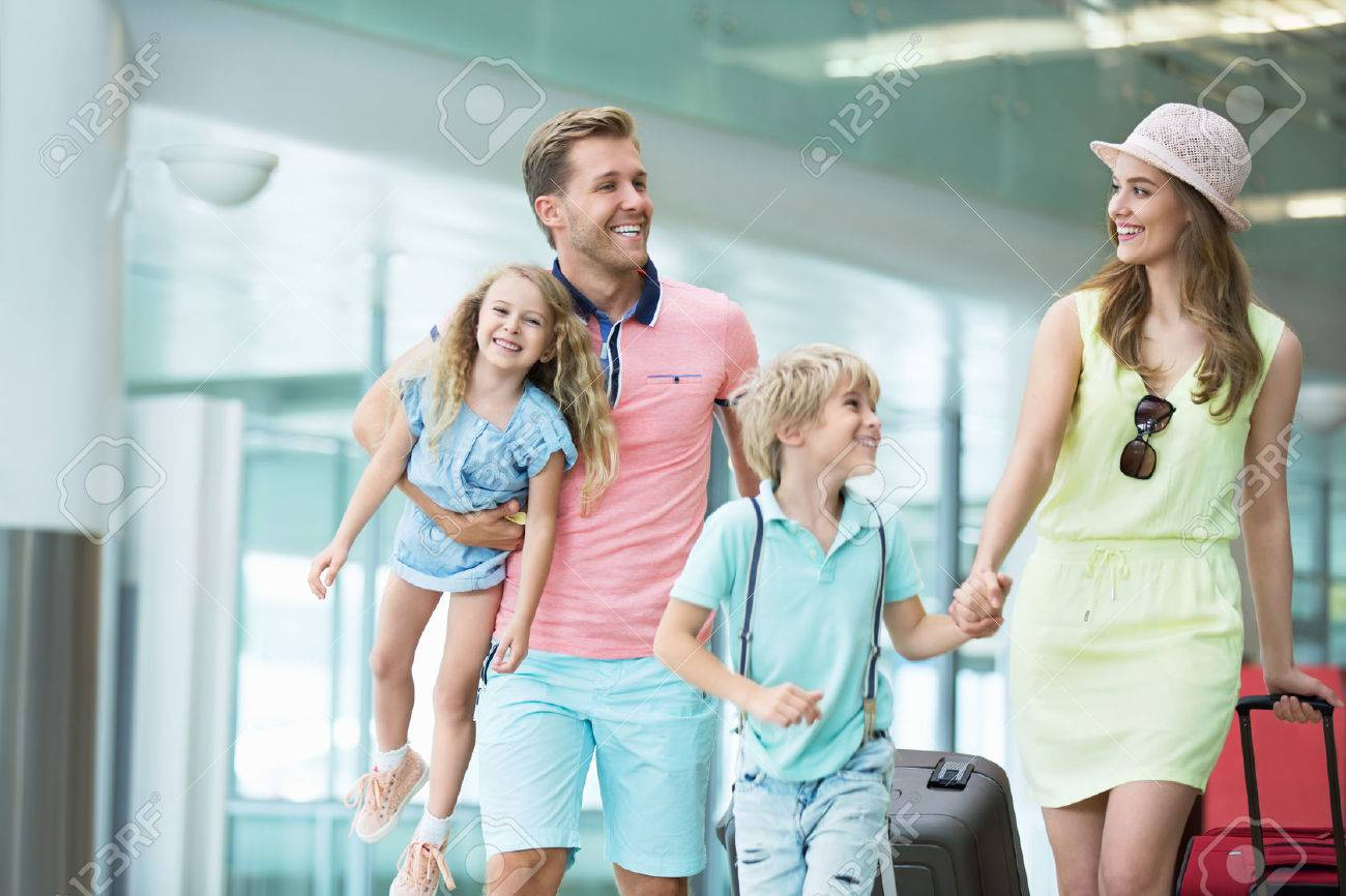 Family with children at the airport Stock Photo - 45459931