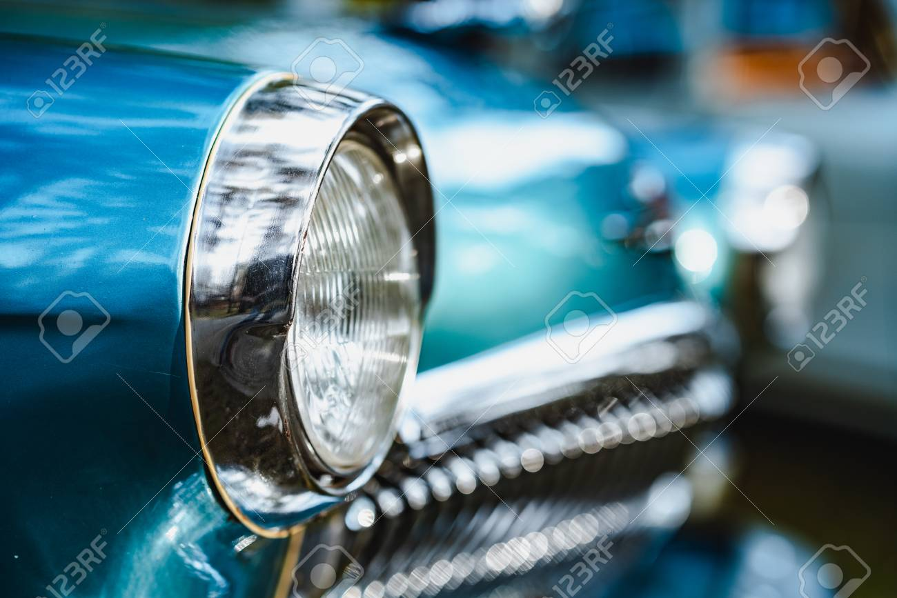Soviet blue car headlights close-up - 115529119