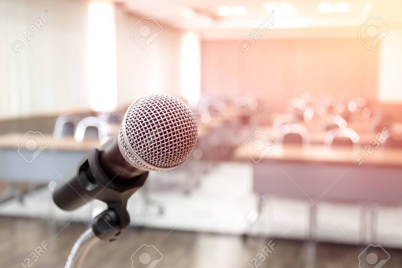 Microphone on abstract blurred of speech in seminar room - 120693375