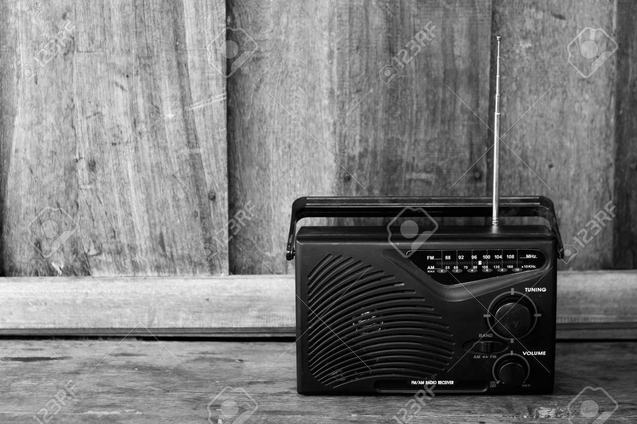Black and white old transistor radio stock photo 30541904