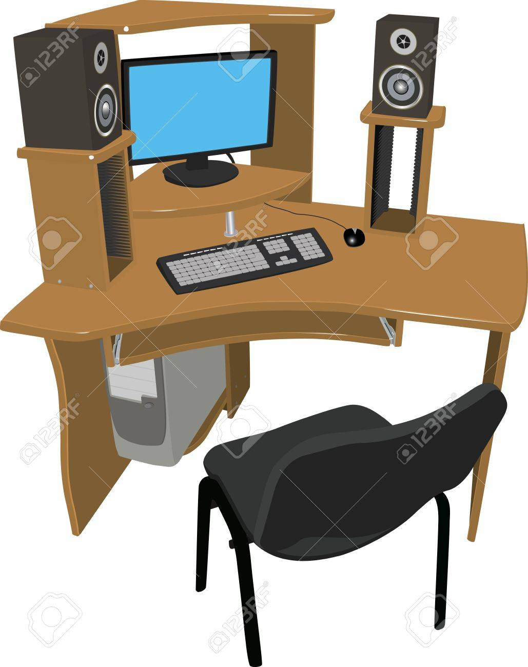 A place for work and leisure  Wooden table with shelves for DVD discs on which there is a computer and speakers on a white background Stock Vector - 12873869