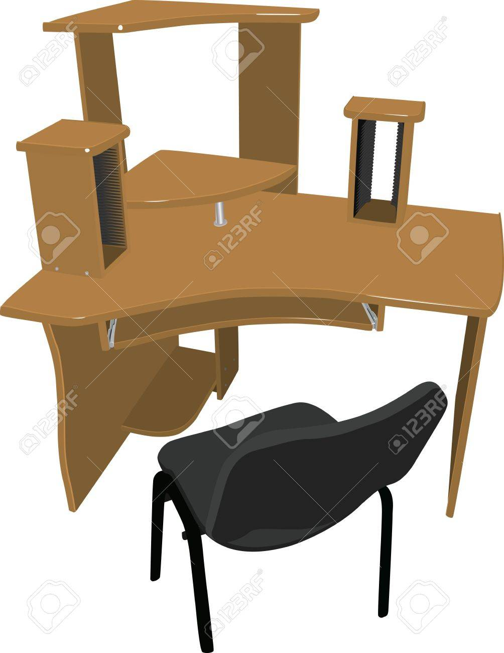 Convenient workplace for the house and office. A big table-top, a place for computer, monitor, printer and stereo speakers, shelf for DVD disks. Stock Vector - 13225556