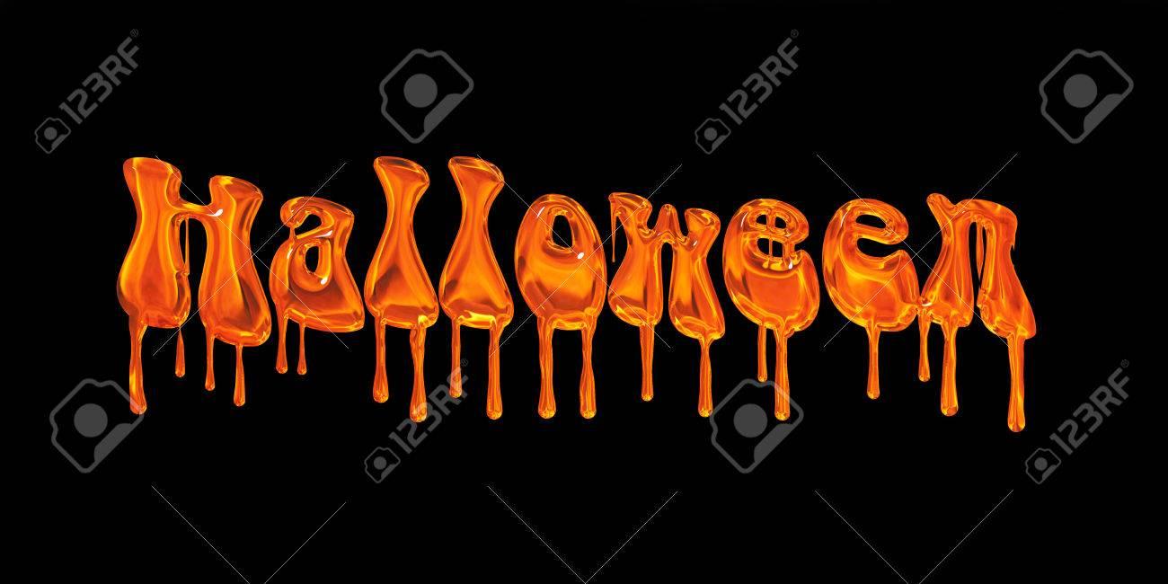 dripping orange word halloween isolated on black background stock