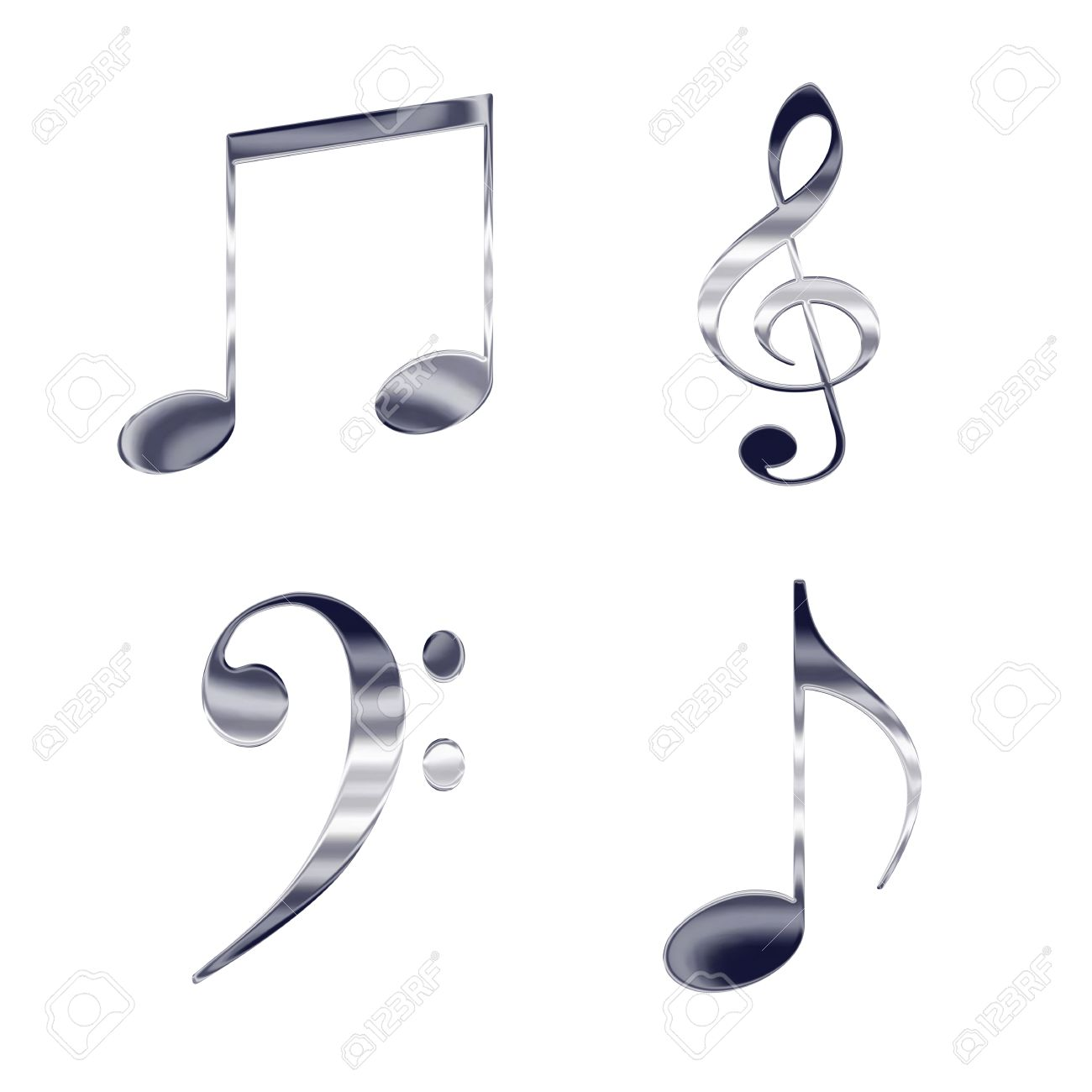 Set Of Music Notes And Symbols Silver Metal Icons Stock Photo