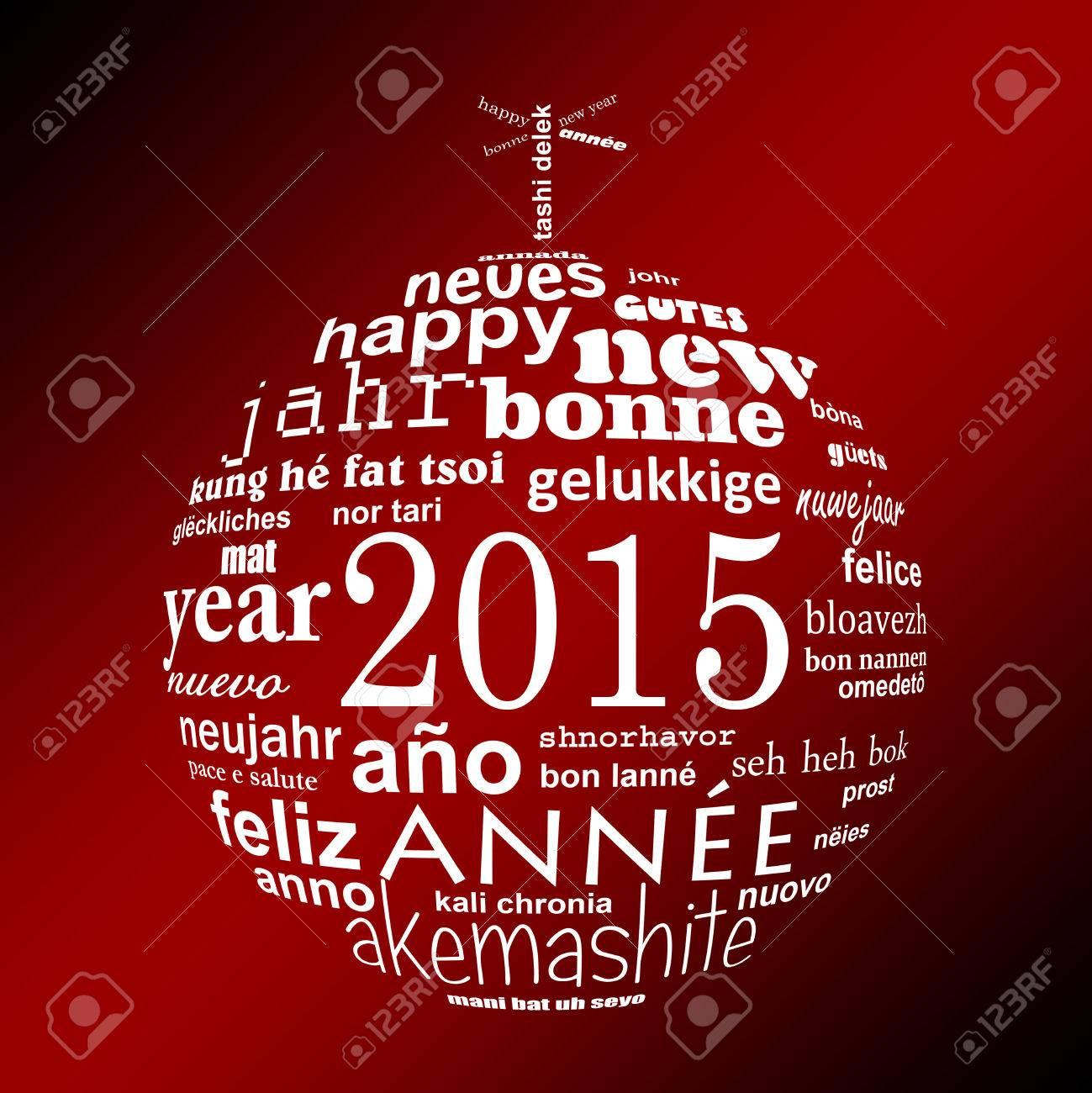 2015 Nouvelle Année Mot De Texte Multilingue Nuage Carte De Voeux