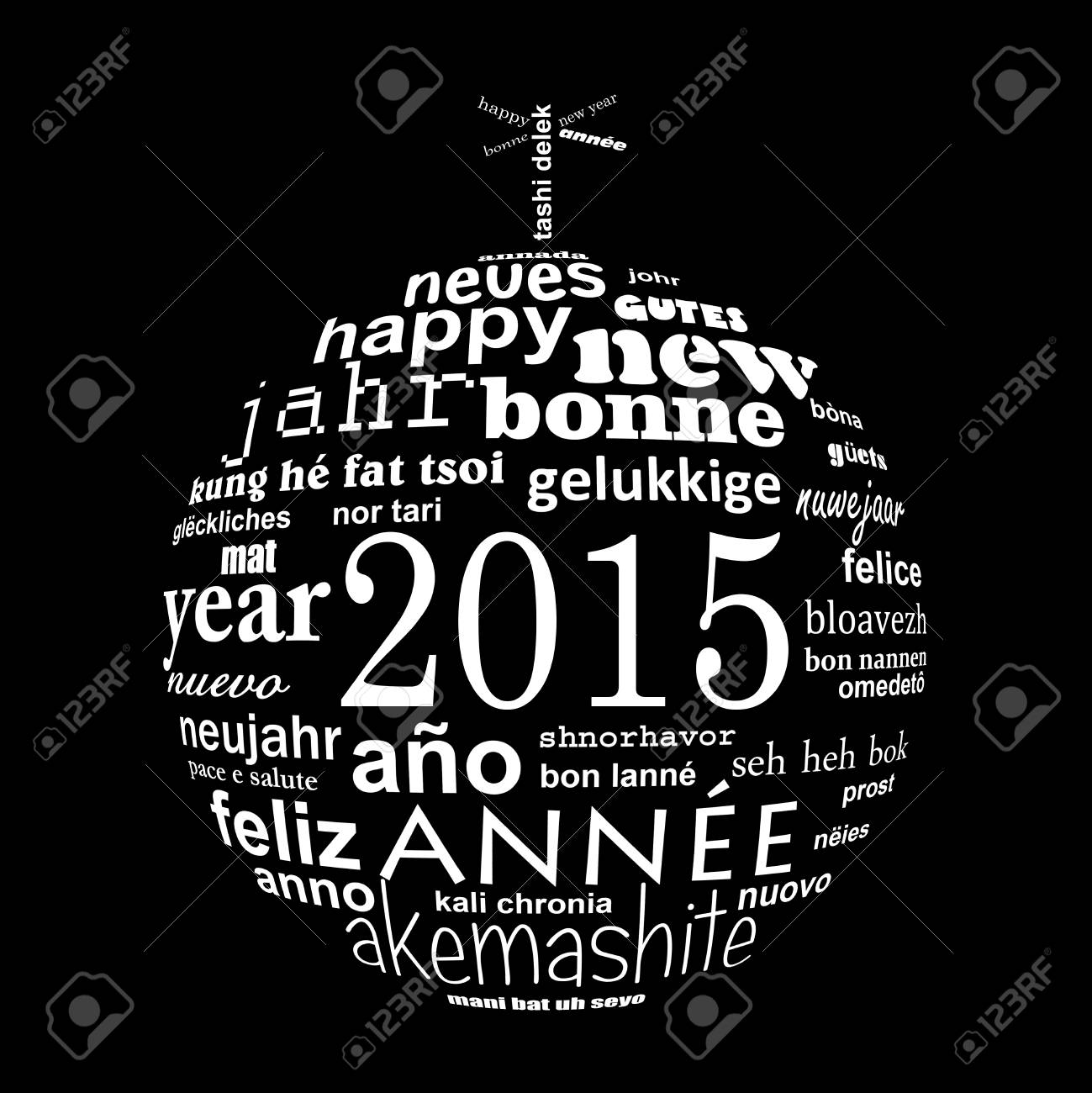 2015 New Year Multilingual Text Word Cloud Greeting Card In The