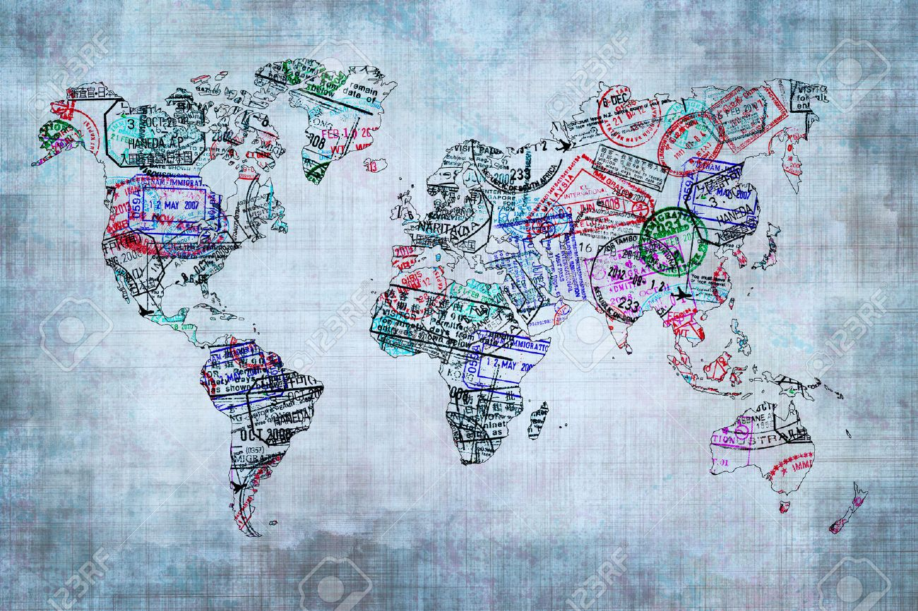 stock photo world map created with passport stamps travel concept