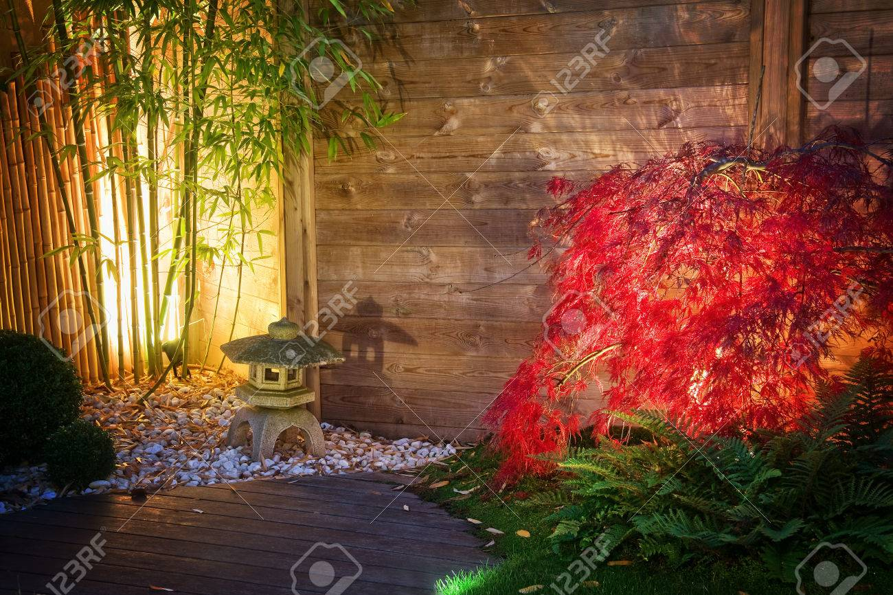 Japanese Stone Lantern And Red Maple Tree In A Zen Garden Lightened Stock Photo Picture And Royalty Free Image Image 34142998