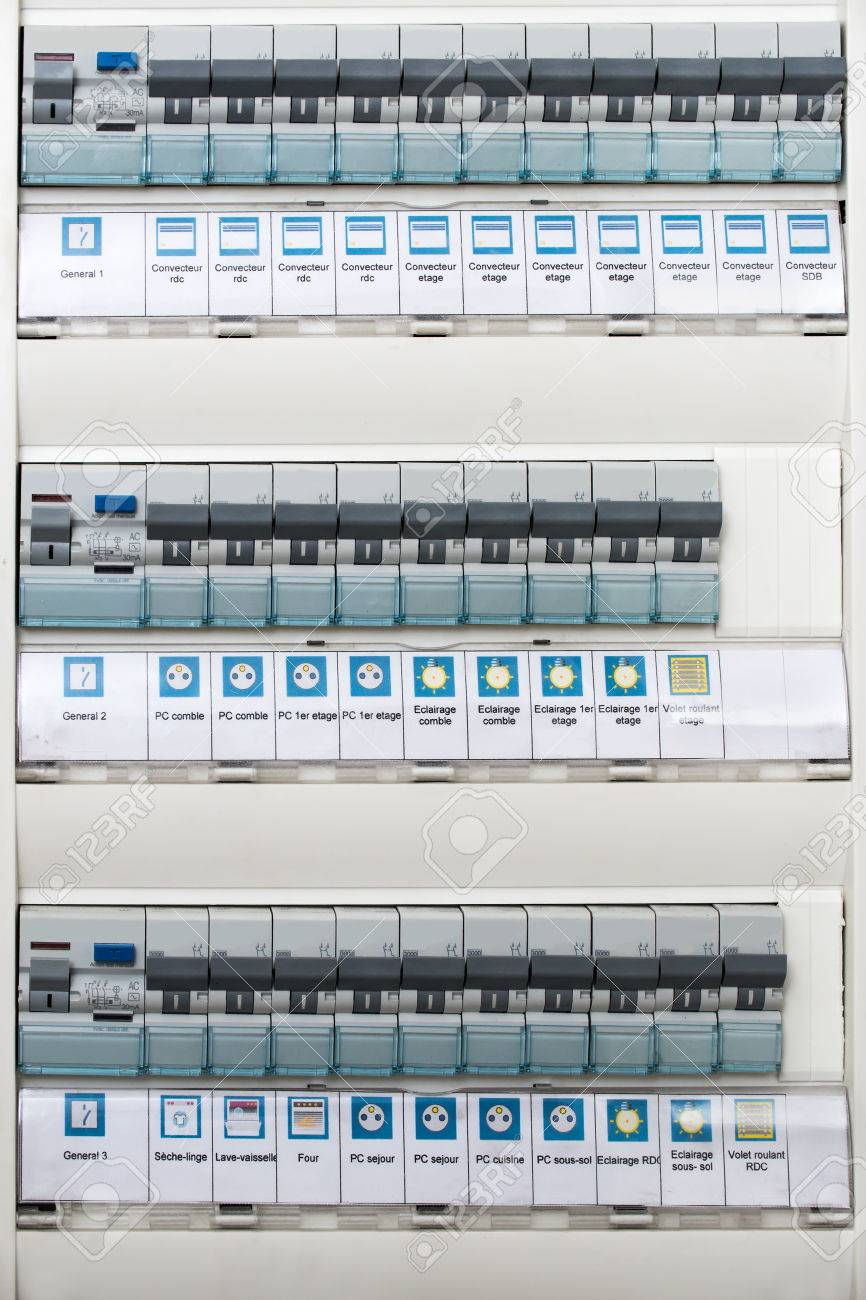 Close Up Of A Modern Home Electrical Panel With Automatic Fuses ...