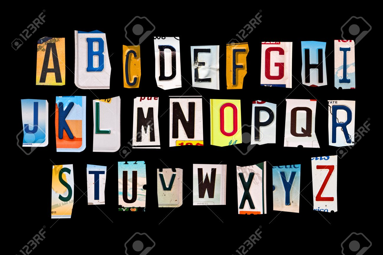 Alphabet Set Created With Broken Pieces Of Vintage Car License ...