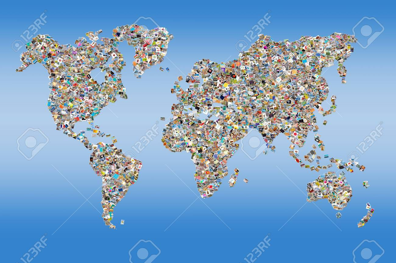 Photos collage in the shape of a world map blue background stock photos collage in the shape of a world map blue background stock photo 42700831 gumiabroncs Image collections