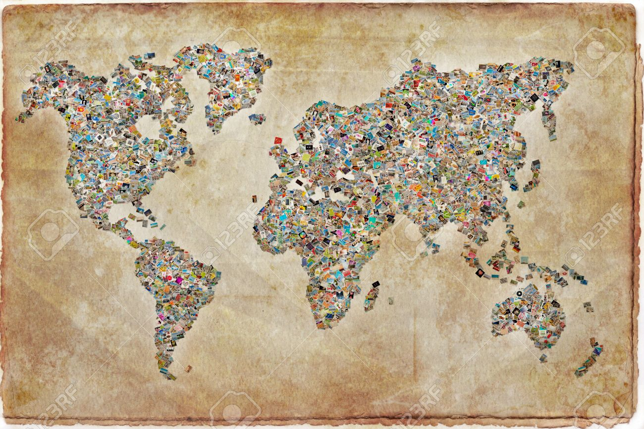 Photos collage in the shape of a world map vintage background stock photos collage in the shape of a world map vintage background stock photo 42700830 gumiabroncs Gallery
