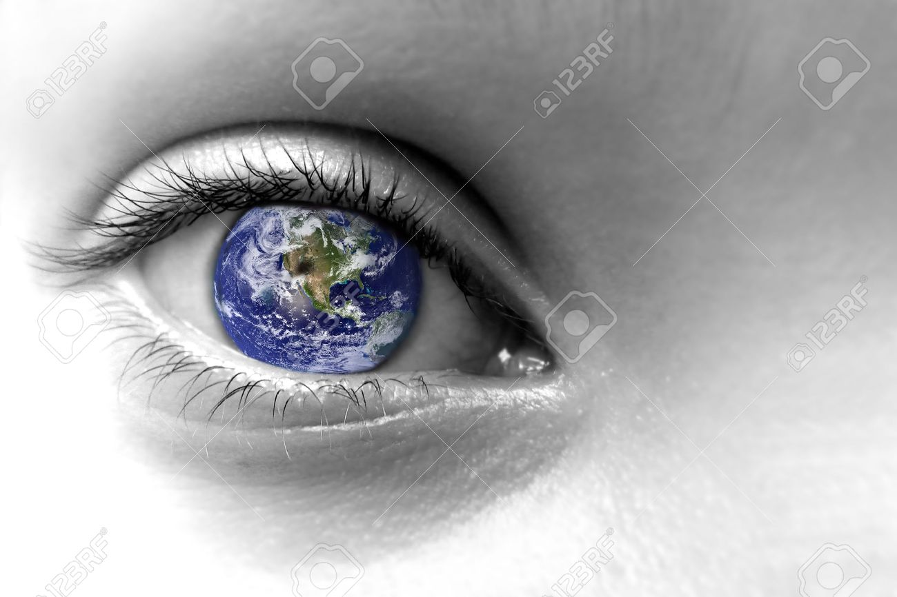 Close up of an eye with the earth in its iris, elements of this image are furnished by NASA - 44870988