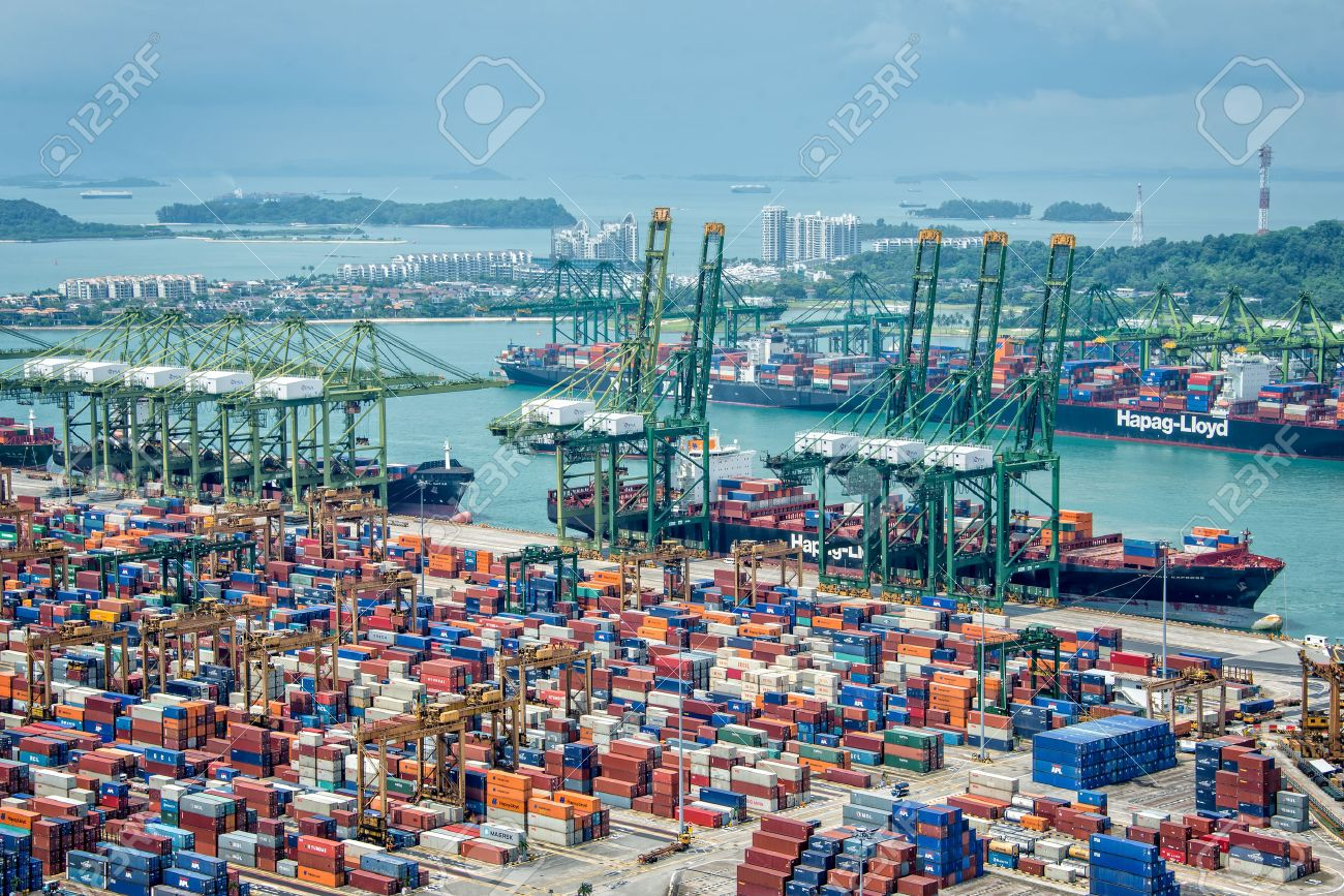 Aerial view of the port of Singapore, the busiest asian commercial port with cargo ships and containers - 49377380