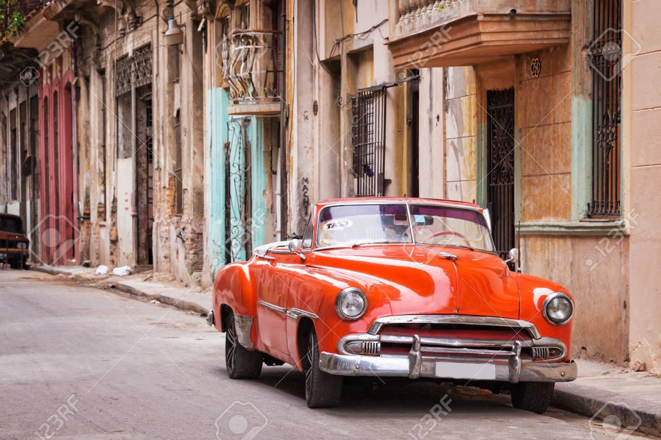 Vintage classic american car in a street in Old Havana, Cuba - 56812449