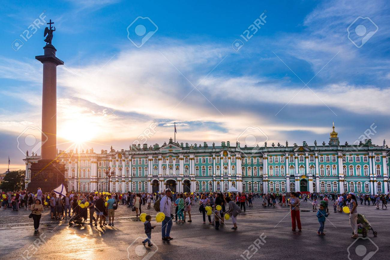 The Hermitage, Winter Palace and Alexander Column at sunset on Palace Square, St Petersburg Russia - 61817208
