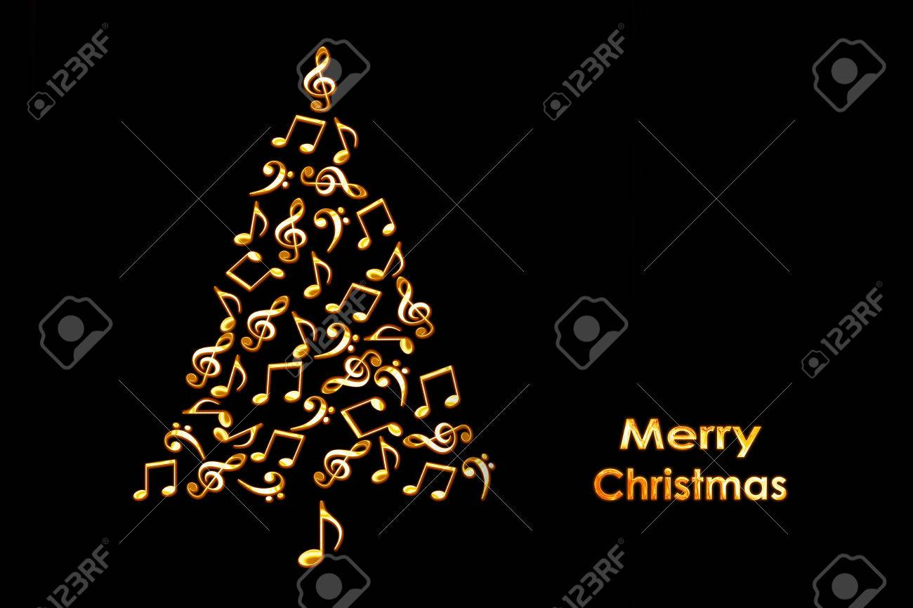 christmas card with a christmas tree made of shiny golden musical