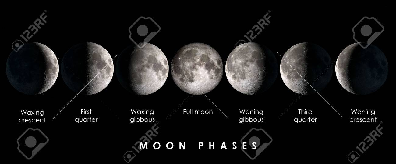 Moon phases with text, elements of this image are provided by NASA - 70259231