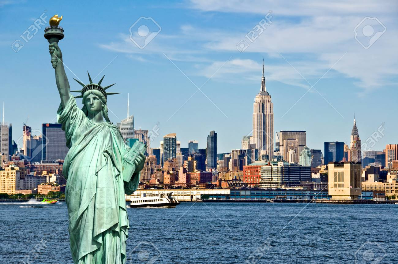New York skyline and the Statue of Liberty, New York City collage, travel and tourism postcard concept, USA - 80673822