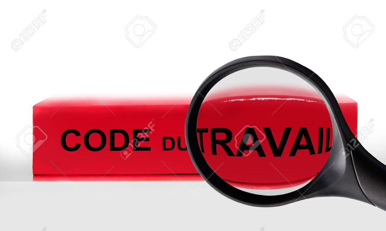 French labor code book and magnifying glass, labor code law reform in France concept - 81121414