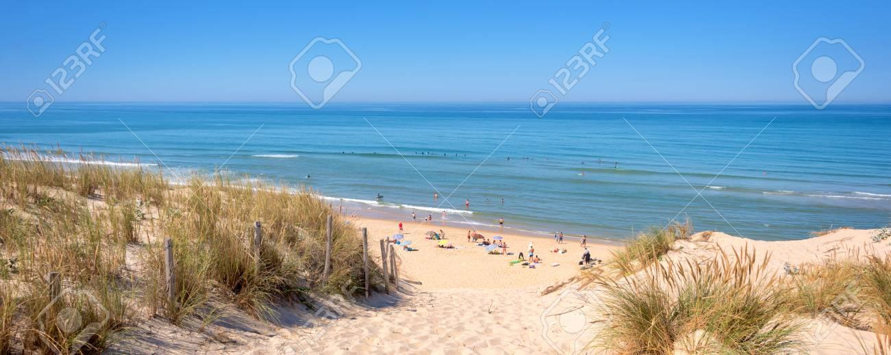 Panorama of the dune and the beach of Lacanau, atlantic ocean, France - 104510927