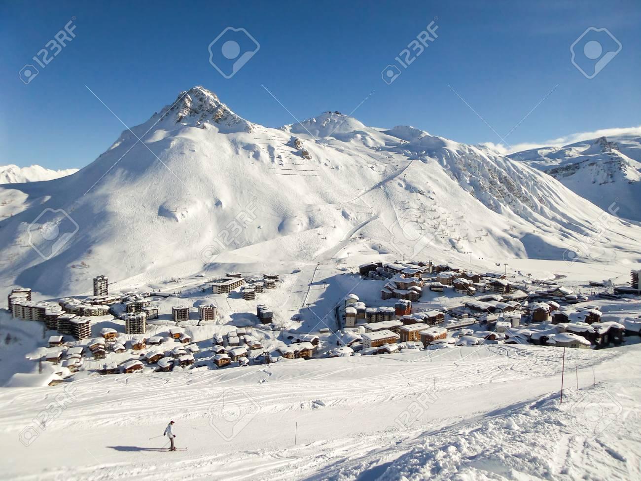 ski resort of tignes in winter, ski slope and village of tignes