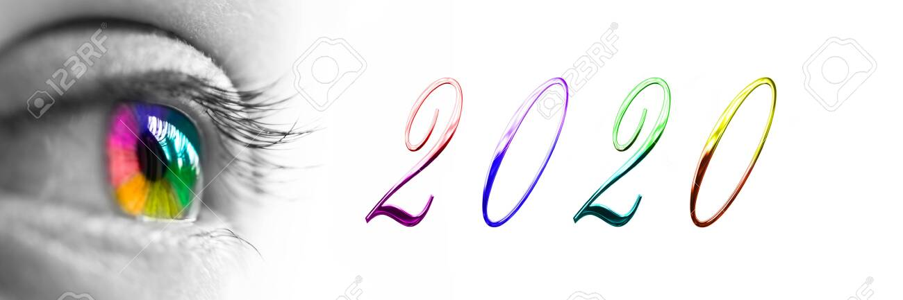 2020 and colorful rainbow eye headeron panoramic white background, 2020 new year greetings concept - 129577753