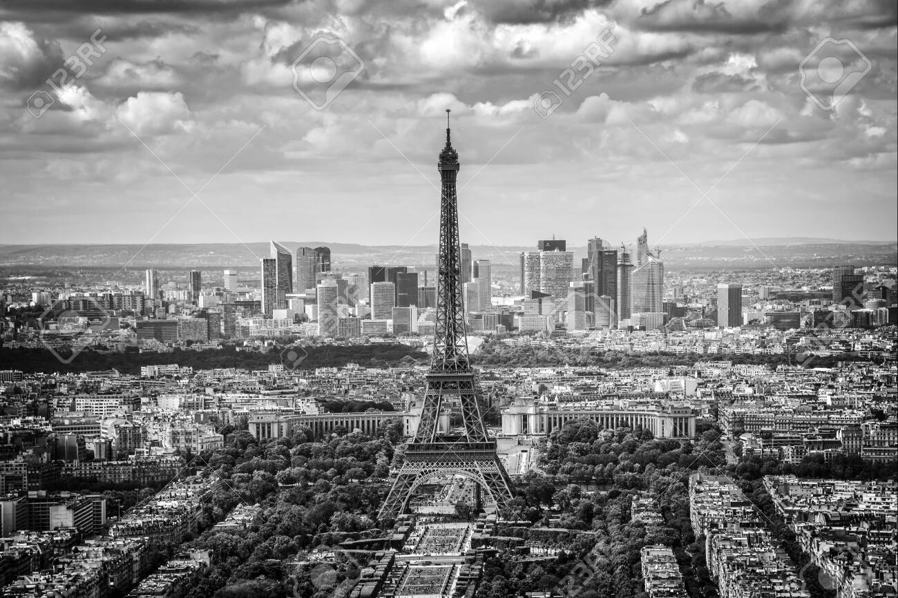 Aerial scenic view of Paris with the Eiffel tower and la Defense business district skyline, black and white - 134960357
