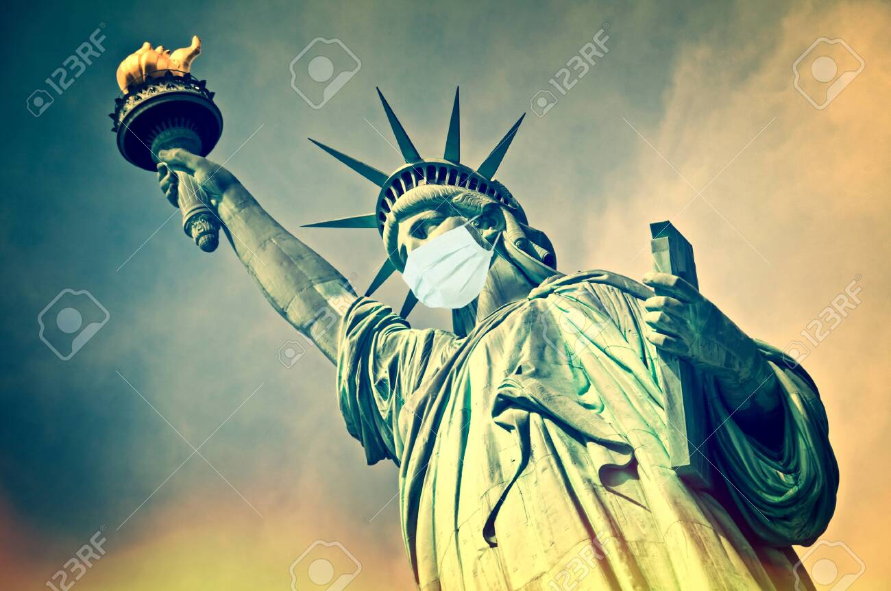 Statue of Liberty wearing a surgical mask. New coronavirus, covid-19 in New York and USA epidemic crisis concept - 143427953