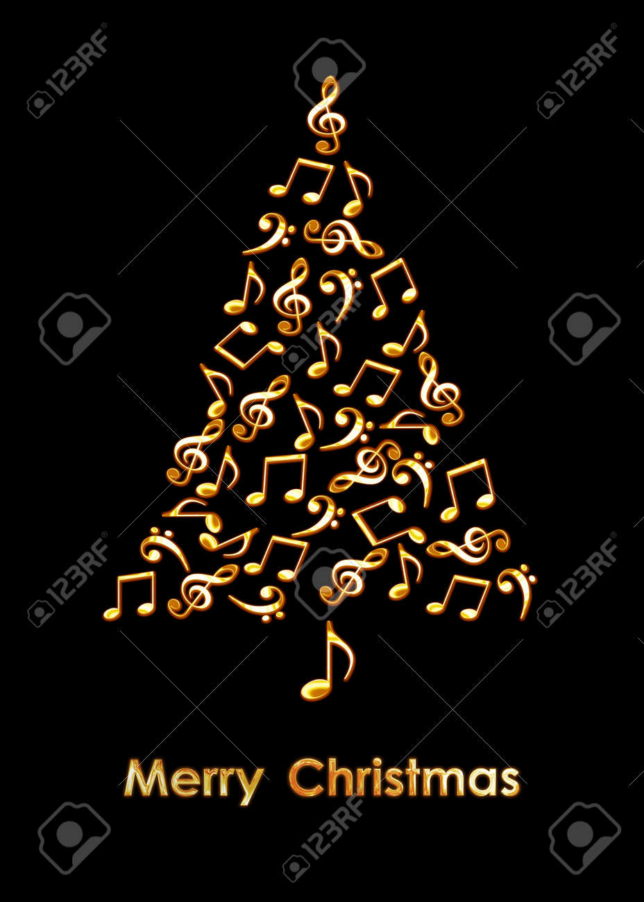 Christmas tree made of golden musical notes on black background. Merry Christmas music greeting card - 156724748