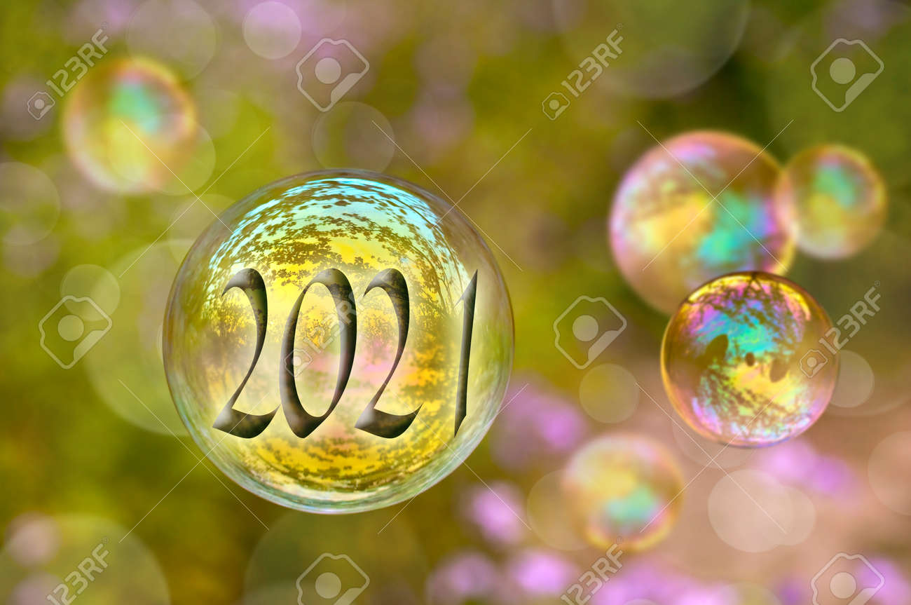 2021 soap bubble on green nature background, new year greeting card - 157082203